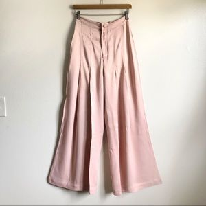 Free People Pink Pleated High Waist palazzo pants